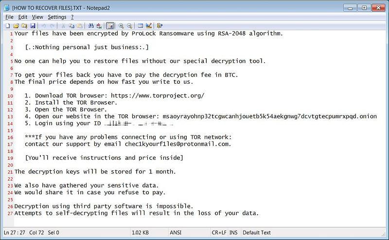 ProLock ransomware-FBI ειδοποίηση