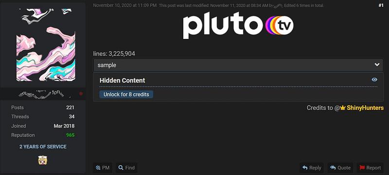 "Pluto TV: Η ShinyHunters ""χτύπησε"" την υπηρεσία. Εκτίθενται εκατομμύρια αρχεία χρηστών"
