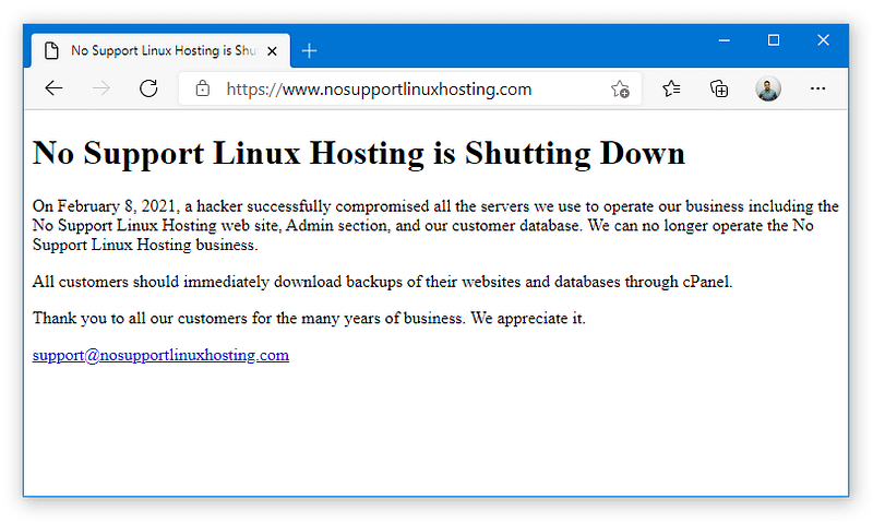 No Support Linux Hosting: Κλείνει η εταιρεία web hosting μετά από hack!