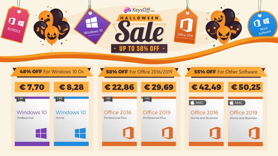Halloween προσφορές Windows 10 pro με 5,8€ Office 2016 Pro με 22,86€