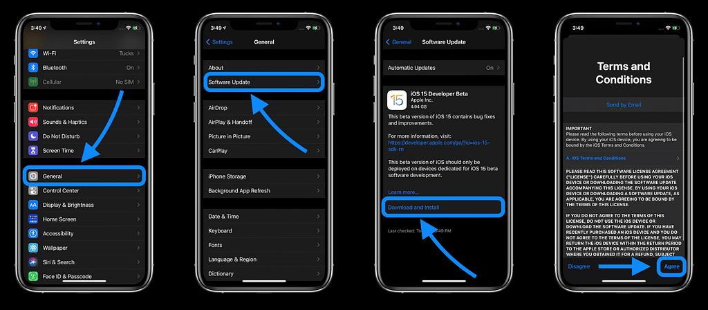 iOS 15 developer beta εγκατάσταση install