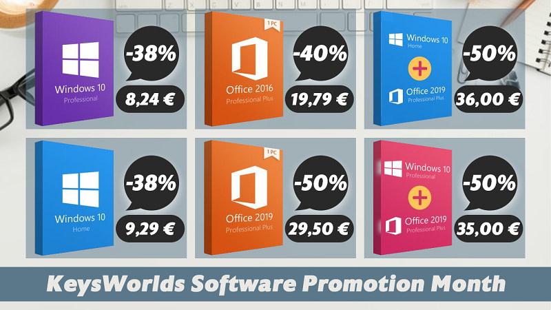 Office 2019 Pro με €29.50, Office 2016 €19.79, Windows 10 Pro με €8.24