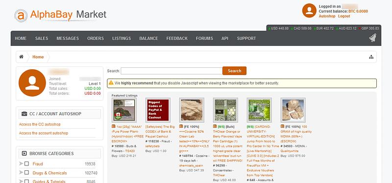 AlphaBay marketplace