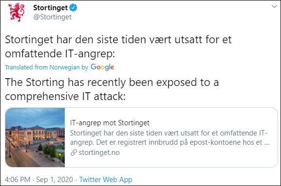 Κοινοβούλιο Νορβηγίας χάκερς- tweet