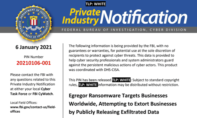 FBI: «Το Egregor ransomware στοχεύει επιχειρήσεις σε όλο τον κόσμο»!