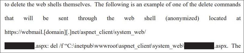 εντολή για την απεγκατάσταση των web shells από τους παραβιασμένους servers