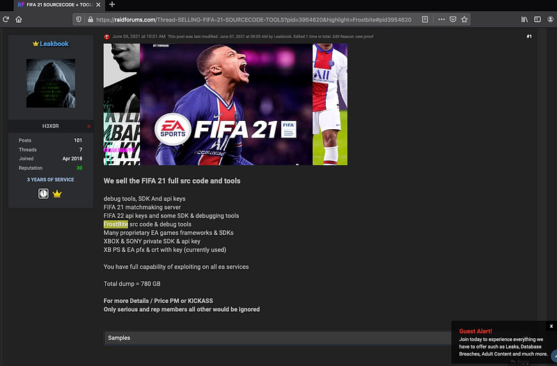 Electronic Arts - source code  FIFA 21 video games