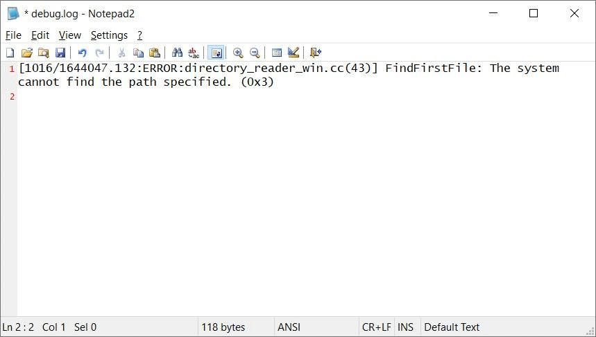 chrome debug.log