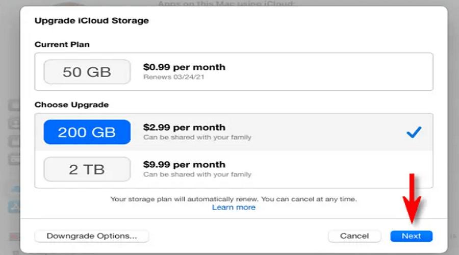 iCloud χώρο αποθήκευσης