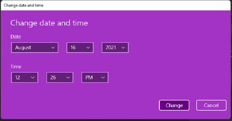 ώρα και ημερομηνία